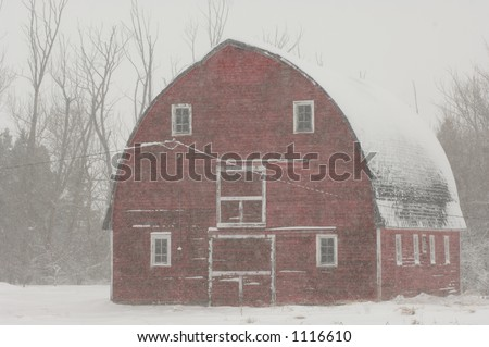 Barn in Snowy Farmyard in Alberta Canada - stock photo