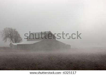 Barn in the Fog - see more in portfolio - stock photo