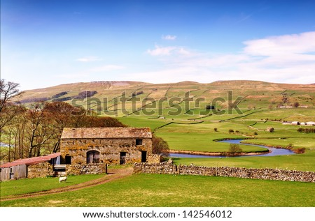 Barn near River Ure in the Yorkshire Dales - stock photo