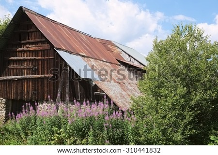 Barn ruin in the french alps, made of boulders, wood gable and rusty metal pan plate roof, surrounded by wild nature - stock photo