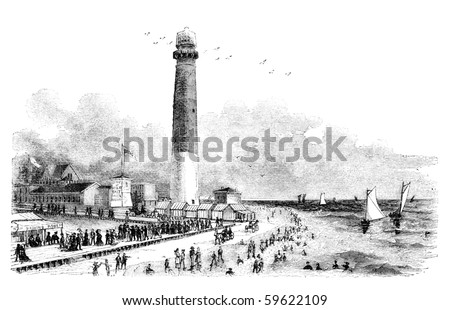 "Barnegat Lighthouse in Atlantic City, New Jersey. Illustration originally published in Hesse-Wartegg's ""Nord Amerika"", swedish edition published in 1880. The image is currently in public domain. - stock photo"