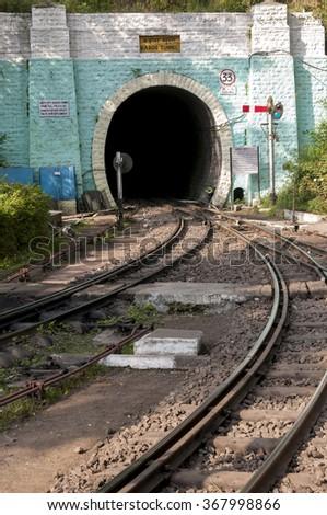 Barog tunnel on the shiwalix express railway from Kalka to Shimla, India - stock photo