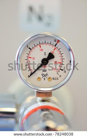 Barometer, nitrogen in hospital lab - stock photo