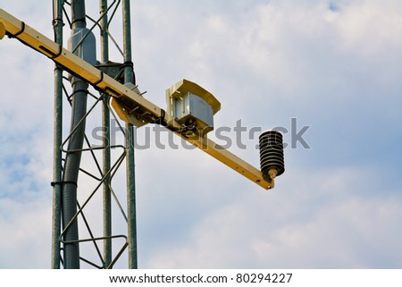 barometer on weather station antenna - stock photo