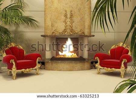 Baroque armchairs with fireplace in royal interior - stock photo