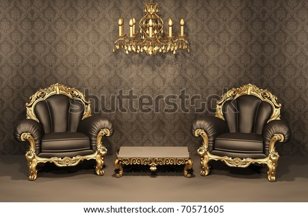 Baroque Armchairs with gold frame in old interior. Luxurious furniture. Deluxe apartment - stock photo