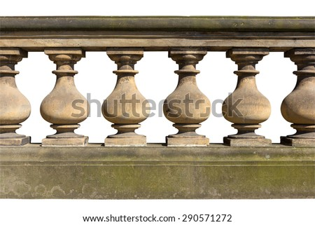 Baroque balustrade (isolated on white background with clipping path) - stock photo
