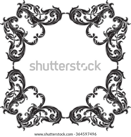 Baroque black vintage frame is on white - stock photo