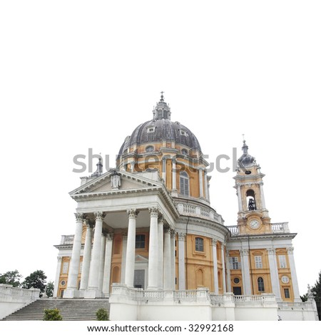 Baroque church Basilica di Superga,Turin, Italy - isolated over white