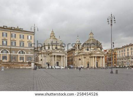 Baroque churches  Santa Maria in Montesanto and Santa Maria dei Miracoli on Piazza del Popolo in Rome, Italy - stock photo