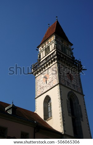 Baroque clock tower of the  town hall of  Passau, Germany