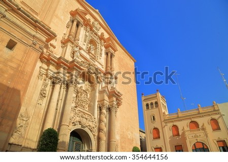 Baroque decorations of Santa Maria Basilica in Elche, Alicante, Spain - stock photo