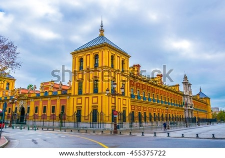 Baroque facade of the Palace of San Telmo in Seville.It is the seat of the presidency of the Andalusian Autonomous Government