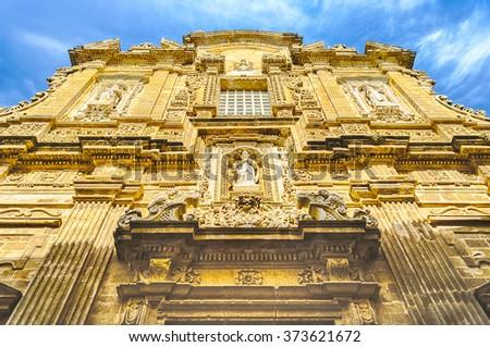 Baroque facade of the Sant'Agata Cathedral in Gallipoli, Salento, Apulia, Italy - stock photo