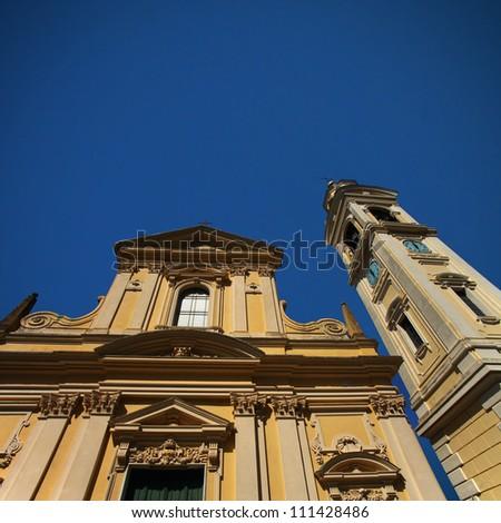 Baroque facade with bell tower, Italy - stock photo