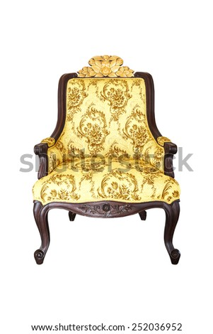 Baroque gold Chair on white background