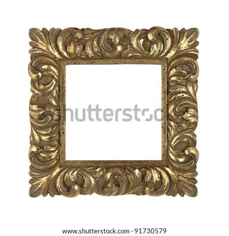 baroque golden frame - stock photo