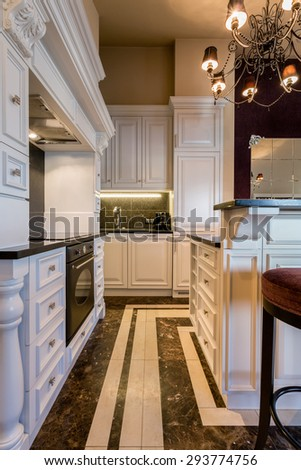Baroque luxury kitchen in huge apartment