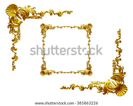 baroque, ornamental Frame elements, ninety degree corner in gold - stock photo