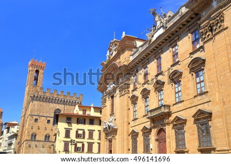 Baroque palace surrounded by medieval buildings in Florence, region of Tuscany, Italy