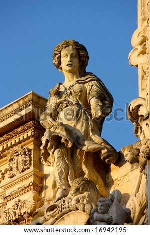 Baroque statue in Lecce, Italy - stock photo