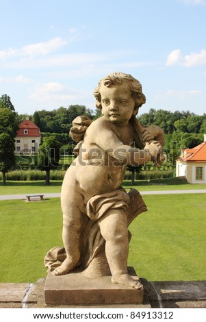 Baroque statue of a child in Moritzburg Castle, Saxony (Germany)