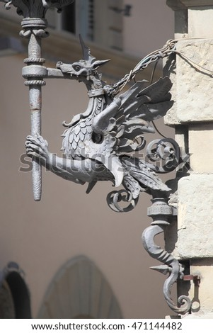Baroque street lamp in Florence, Italy