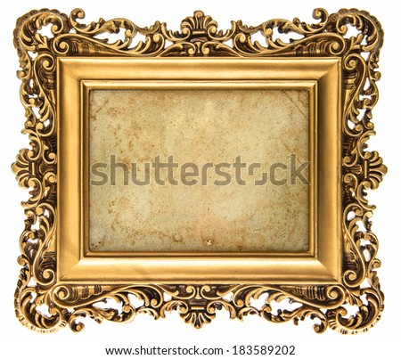 baroque style golden picture frame isolated on white background with canvas for your picture, photo, image