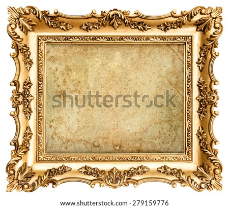 Baroque style golden picture frame isolated on white background with canvas for your picture, photo, image.