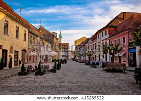 Baroque town of Varazdin street view, northern Croatia - stock photo