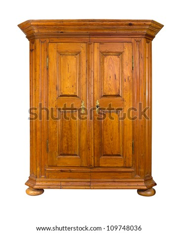 baroque wooden cabinet - stock photo