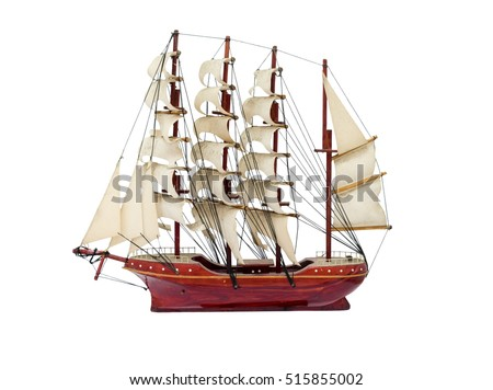 Barque ship gift craft model wooden,isolated on background