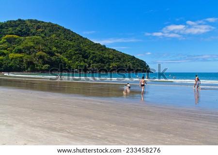 Barra do Sahy - Brazilian beach in Sao Sebastiao - Sao Paulo - Brazil - stock photo