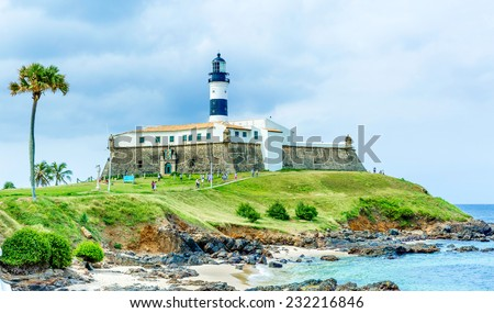 Barra Lighthouse (Farol da Barra) in Salvador, Brazil. - stock photo