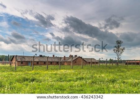 Barracks at Auschwitz Birkenau Concentration camp, Poland - stock photo