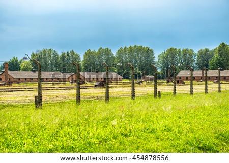 Barracks in former Nazi concentration camp Birkenau, Oswiecim, Poland - stock photo