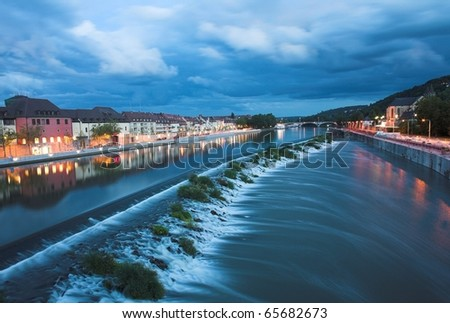 barrage of the river main in Wurzburg - stock photo