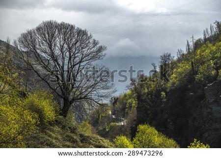 Barranco del Poqueira at La Alpujarra, Andalusia, Spain - stock photo