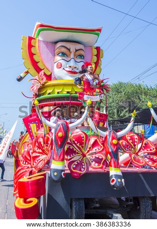 BARRANQUILLA , COLOMBIA - FEB 07 : Float parade in the Barranquilla Carnival in Barranquilla , Colombia on February 07 2016. Barranquilla Carnival is one of the biggest carnivals in the world