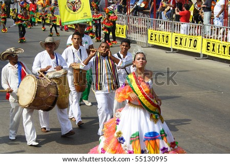 BARRANQUILLA - FEB 15: Once a year Colombia hold there carnival street parade. Dancers enjoy the moment. February 15, 2010 Barranquilla Colombia - stock photo