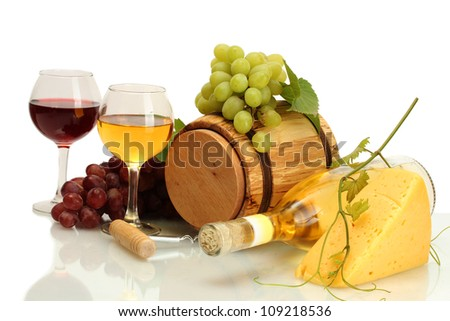 barrel, bottle and glasses of wine, cheese and ripe grapes isolated on white - stock photo