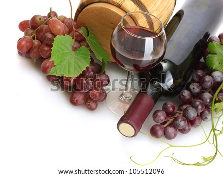 barrel, bottles and glass of wine and ripe grapes isolated on white - stock photo