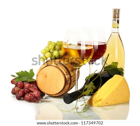 barrel, bottles and glasses of wine, cheese and ripe grapes isolated on white