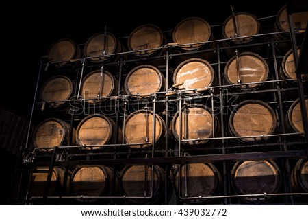 Barrel Brandy.Wooden Barrel Alcohol.Wooden Barrel.Aged Alcohol.Alcohol Warehouse.Storage Alcohol.Wine.Alcohol Container.Cellar.Cellar Alcohol. - stock photo