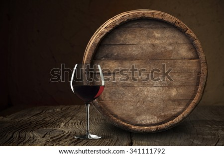 barrel for wine and beer in the basement - stock photo