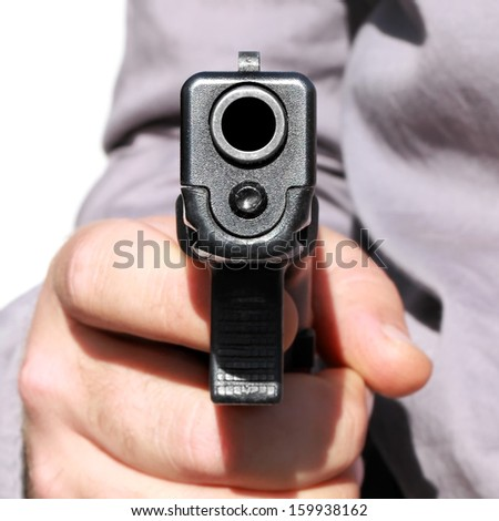 Barrel of a gun ready to shoot - stock photo