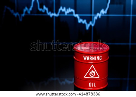 barrel of oil on the blue chart - stock photo