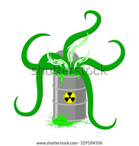 Barrel of Toxic waste and green tentacles. illustration of a Biohazard container. Gray radioactive barrel - stock photo