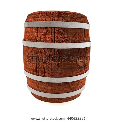 Barrel of wine, isolated over white, 3d rendering