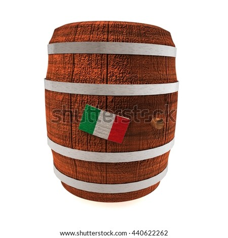 Barrel of wine with Italy flag, isolated over white, 3d rendering - stock photo